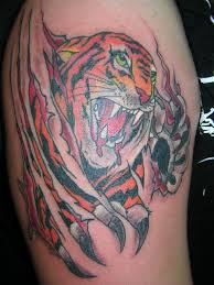 paw ripping skin angry ripped skin tiger design