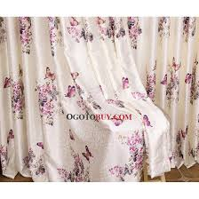 country style curtains in beige color printed with pink butterfly