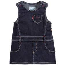 baby girls blue soft denim pinafore dress childrensalon
