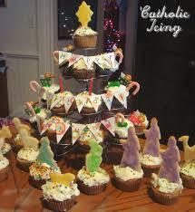 happy birthday jesus cake with nativity cookies