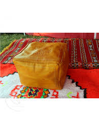 Leather Home Decor by Yellow Square Leather Ottoman Marrakech Market