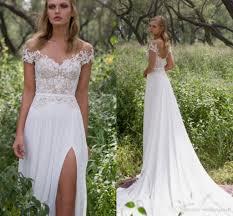 Chiffon Wedding Dresses Discount Limor Rosen Lace Beaded Beach Wedding Dresses Sheer Neck