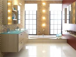 bathroom witching girls bathroom ideas with brown brick wall