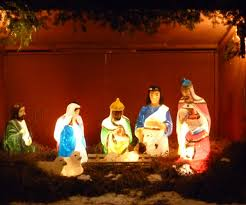 lighted outdoor nativity holy family tagsideas