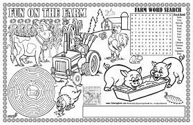 coloring books farm coloring placemat