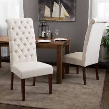 tall natural tufted fabric dining chair set of 2 by christopher