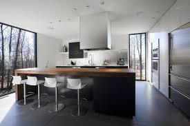 cottage oak kitchen island armless metal chairs ceramic tiles