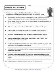 simplify with pronouns pronoun worksheets