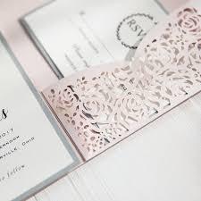pocket wedding invitation kits blush pink and gray laser cut pocket wedding invitations swws040