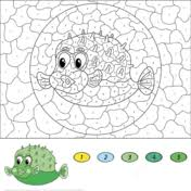 cute seahorse color by number free printable coloring pages