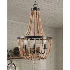 wood bead ceiling light design craft mindy 3 light wood bead chandelier gold bronze free