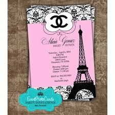 Sweet 16 Birthday Invitation Cards Paris Chanel Quinceanera Invites Paris Quinceanera Party