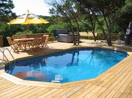 appealing above ground pool landscaping ideas on deck design with