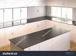 3d rendering empty kitchen cabinet kitchen stock illustration