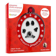 pearhed sided photo and pawprints ornament for dogs or cats