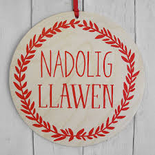 a quirky christmas decoration printed with the words u0027nadolig