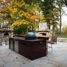 outdoor kitchen with big green egg cooking furniture patio