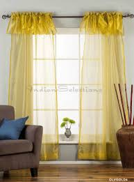 Lime Green Valance Sheer Curtain With Attached Valance