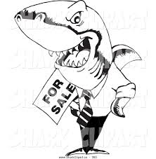 clip art of a black and white coloring page of a realtor shark