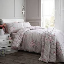 Grey Double Duvet Set Catherine Lansfield Home Canterbury Brushed Check Flannelette