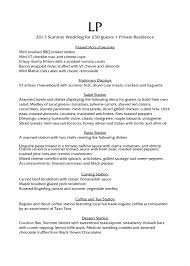 Catering Resume Samples by Sample Menu Gallery Vermont Catering By Let U0027s Pretend