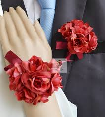 Red Prom Corsage Aliexpress Com Buy Handmade Wedding Corsages Groom Boutonniere