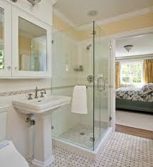impressive classic bathroom in bedroom with corner glass shower