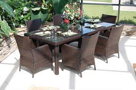 outdoor wicker dining table lantana 7 pc resin wicker dining set cil 7