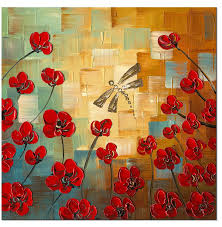 home decor flower amazon com wieco art dragonfly modern flowers artwork 100 hand