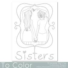 coloring features girls holding hands