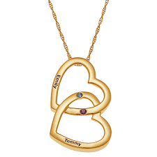double heart necklace images Gold over sterling couples birthstone name double heart necklace jpg