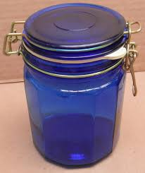 blue glass kitchen canister storage container with lock latch lid