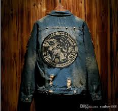design tiger cowboy coat denim jacket hip hop