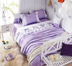 Lilac Bedding Sets Luxury Purple Lilac Lace Ruffle Bedding Set King Cotton
