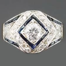 art deco sapphire diamond mens ring description by adin antique
