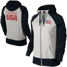 nike usa ladies all time full zip performance hoodie ash navy