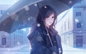 winter anime wallpaper hd preview wallpaper winter love girl umbrella art wallpapers