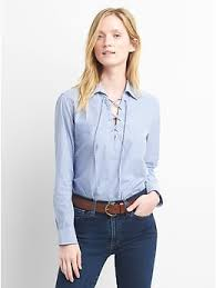 popover blouse stripe lace up popover shirt gap