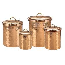Copper Accessories For Kitchen Old Dutch Decor Copper Hammered Canister Set 4 Piece 843 The