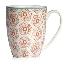 wilko morroccan flower design mug orange kitchen shop