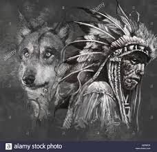wolf and indian chief design grey backgrou