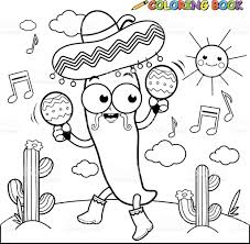mariachi chilli pepper with maracas coloring page stock vector art