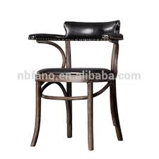 Armchair Cafe Fn 6404 Vintage Bistro Cafe Pu Leather Seat Pad Wood Armchair