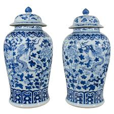 Blue And White Vases Antique Pair Of Large Blue And White Chinese Porcelain Vases With Dragons
