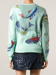fish sweater lyst kenzo no fish no nothing sweater in green