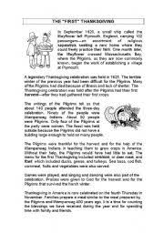 thanksgiving history reading worksheet