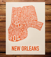 New Orleans Districts Map by New Orleans Neighborhood Map Art Print Features Local Pride
