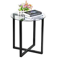 l tables living room furniture amazon com yaheetech end side table round glass top coffee sofa