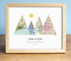 wedding gift map adventure together print 4 map mountain print personalized