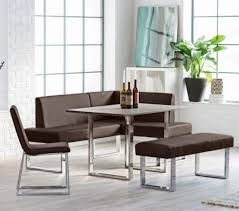 breakfast nook table bench 4pc corner modern faux leather chair